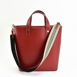 BURBERRY Red Leather & Web Stripe Logo Tote Bag uy